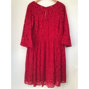 EUC Lane Bryant Red Lace Fit & Flare Dress 16W